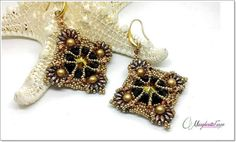 Cassis earrings tutorial with keops supeduo by 75marghe75 on Etsy
