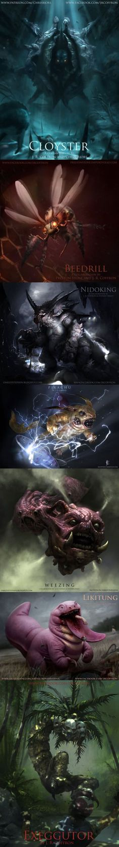 Poke Monstrosities (By JRCoffronIII) | Pokemon as they would look in real life | Pokemon Monsters Fan art | Creepy, horror, fantasy creatures | anime | Cloyster Beedrill Nidoking Pikachu Weezing Likitung Exeggutor