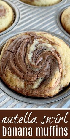 Nutella Swirl Banana Muffins - Together as FamilyYou can find Nutella recipes and more on our website.Nutella Swirl Banana Muffins - Together as Family Nutella Recipes, Banana Recipes, Muffin Recipes, Breakfast Recipes, Dessert Recipes, Cake Recipes, Nutella Snacks, Dinner Recipes, Lunch Recipes