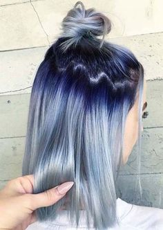 Top Knot Hairstyles 2019 Ideas with Stylish Hair Color Hair Dye Colors, Ombre Hair Color, Cool Hair Color, Unique Hair Color, Light Blue Hair, Brown Ombre Hair, Gray Ombre, Blue Gray Hair, Silver Blue Hair
