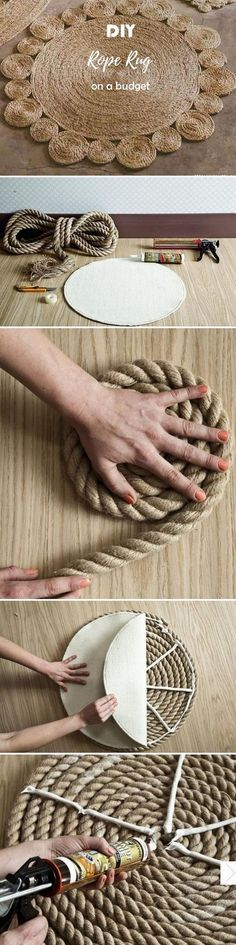 Check out this easy idea on how to make a #DIY rope rug for #rustic #homedecor on a #budget #crafts @istandarddesign