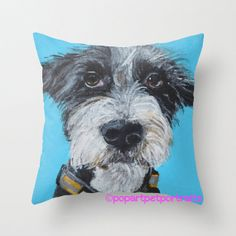 Decorative Blue dog throw pillow cover dog by PopArtPetPortraits, $35.00