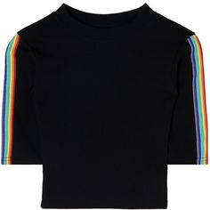 Rainbow Sleeve Panel Crop Top ($29) ❤ liked on Polyvore featuring tops, bunny top, crop top, cut off top, sleeve top and slimming tops