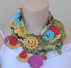 Summer necklace with crochet flowers  and multicolored seed beads. Fancy necklace scarf.Turkish oya flowers.SOLD