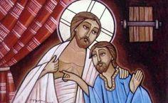 "Coptic image of the ""doubting Thomas"" and Jesus. John 20:24-29"