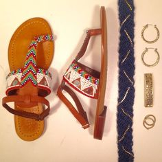 Vince Camuto Malda-Walnut Beaded Sandals: NWT NEW with tags. Flat sandals with a calf strap and toe strap. Malda style. Intricate beading: salmon, orange, blue, white, silver, light green. Vince Camuto Shoes Sandals