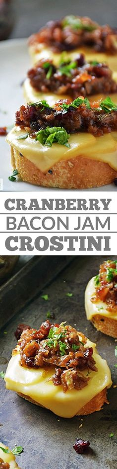 Cranberry Bacon Jam Crostini is the perfect party appetizer! Bite sized deliciousness that's quick and easy to make will be the hit of your parties year after year! Perfect for Christmas and New Year's Eve, but also great to enjoy year round! #LTGrecipes