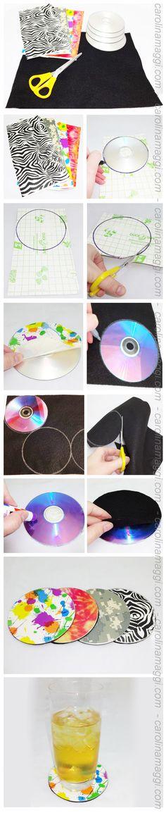 Hazlo tu mismo (HTM) - Recicla: Portavasos de CDs para más tutoriales entra a carolinamaggi.com / Do it yourself (DIY) -Recycle: Coasters made from CDs for more tutorials go to carolinamaggi.com
