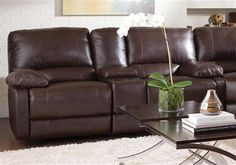 Coaster Furniture - Geri Reclining Love Seat In Brown - Coaster Furniture, New Furniture, Discount Furniture, Furniture Ideas, Leather Reclining Loveseat, Sectional Sofa, Couch, Best Sectionals, Recliner