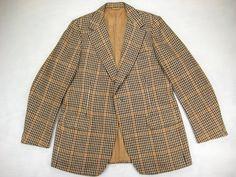 1970s Austin Reed Sport Coat Vintage Retro Men's John Weitz Houndstooth Gun Check Wool Jacket size 42/43 Long