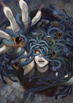 Mythological Creatures, Medusa Gorgon, Medusa Art, Medusa Drawing, Creature Surnaturel, Creature Design, Magical Creatures, Fantasy Creatures, Monster Girl