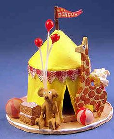 Circus tent & treats - $52.00 : S P MINIATURES hand crafted dollhouse miniatures, S P MINIATURES shop online for dollhouse  miniatures