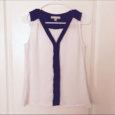 Banana Republic Blouse Used, good condition. White/dark blue color. 100% Polyester. Banana Republic Tops Blouses