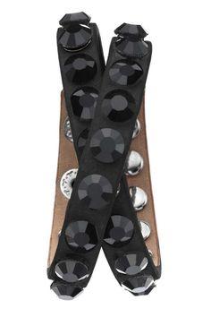 Jayden Star Double Wrap Leather Strap Bracelet in Black