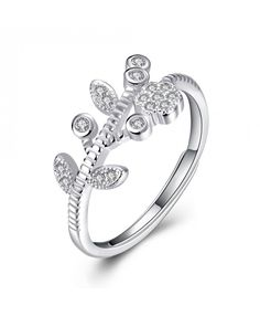 925 Sterling Silver Wedding Ring with Flower and Leaves For Womens