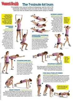 7 Minute Workout Fat-Burning Use these calorie burning exercises to melt the fat away. check us out at http://sittingwishingeating.com