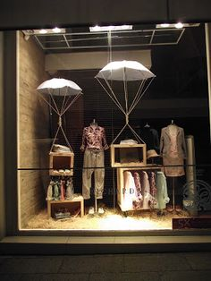 """""""just arrived"""" window display! great way to tell the customer we have new merchandise in stock. Having a stork carry the crate would be effective as well."""