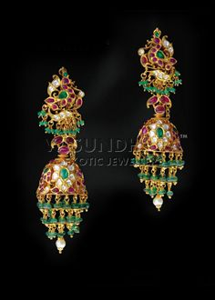 jhumkas with emeralds,rubies and pearls from Vasundhara exotic jewellers..Indian jewellery and clothing