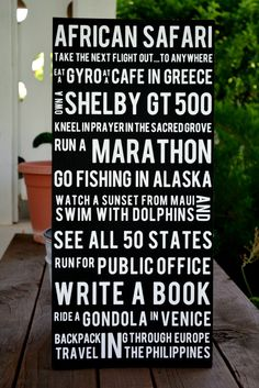 bucket list: 