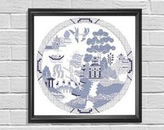 Blue Willow instant download charted design 174x174 stitches   Etsy Chinese Patterns, Geometric Flower, Willow Pattern, Decoupage Paper, Blue China, Chinoiserie, Vintage Patterns, Crochet, Cross Stitch Patterns
