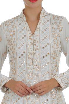 Eid 2017 Collection: Ivory Chikankari Gota Patti And Mirror Work Anarkali Suit