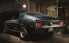 Download imagens Ford Mustang Bullitt, 4k, garagem, 1968 carros, muscle cars, retro carros, Mustang, Ford