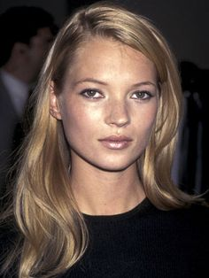 FLIPPED UP LONG BANG. YES. Straight fine dirty blonde hair, side part, medium length, long. Haircut reference. Goal for growing out bangs.  ...She gives me hope that fine, straight hair can be pretty.  Kate Moss, 1995.
