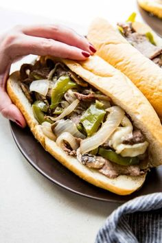 Sheet Pan Philly Cheesesteak - Eazy Peazy Mealz-Sheet Pan Philly Cheese Steak is everything you love about cheese steak. Tender meat, flavorful peppers, onions, and mushrooms, and delicious cheese. One Pan Meals, Easy Meals, Steak Recipes, Cooking Recipes, Pan Cooking, Healthy Recipes, Easy Recipes, Healthy Dishes, Healthy Cooking