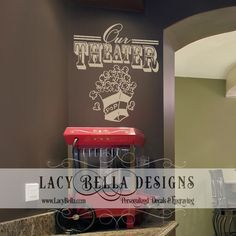 "www.lacybella.com  ""Our Theater"" vinyl lettering wall decal home decor sticker movie popcorn"