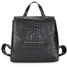 H Halston Women's Flap Leather Backpack (5.625 RUB) ❤ liked on Polyvore featuring bags, backpacks, grey, leather daypack, real leather backpack, h halston, day pack backpack and gray leather bag