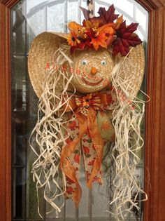 Scarecrow lady hat wreath, fall wreath, scarecrow hat, door decor, fall decorations by AllSeasonDesigns on Etsy https://www.etsy.com/listing/459282988/scarecrow-lady-hat-wreath-fall-wreath