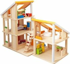 Amazon.com: Plan Toy Chalet Doll House with Furniture: Toys & Games