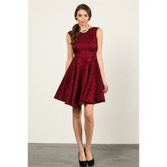 Aime Princess Cut Lace Dress ($39) ❤ liked on Polyvore featuring dresses, red, flower print dress, two-tone dress, floral embroidered dress, red embroidered dress and embroidered lace dress