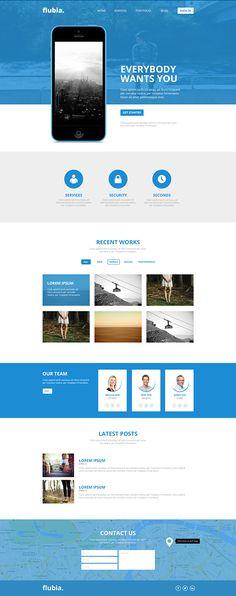 Flubia (Free PSD Website) by Arda Gündoğdu, via Behance Website Design, Interface Design, Free Website, Web Design Inspiration, Website Template, Templates, Product Website, Flat Design, Apps