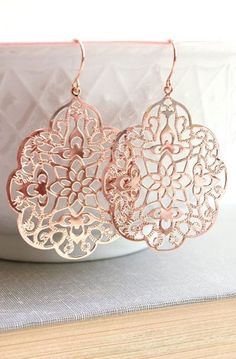 Rose Gold Earrings Big Lace Filigree Modern Large