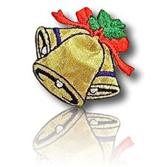 Iron on Christmas Gold Bells with Red Bow Applique Patch