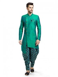 Plain Raw Silk Designer Green Kurta Suit, kurta pajama,