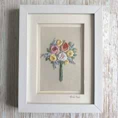 Embroidered bouquet of roses and flowers - floral embroidery textile art £65.00