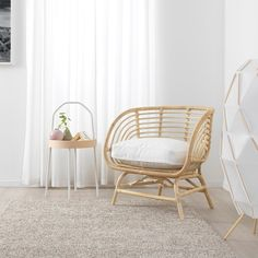 Every year, Ikea releases hundreds of new products from sofa beds to ceramics. Check out our favourite picks from the Ikea 2020 catalogue! Rattan Armchair, Papasan Chair, Rattan Furniture, Handmade Furniture, White Armchair, Rattan Chairs, Ikea Chairs, Ikea Wicker Chair, Chair Cushions