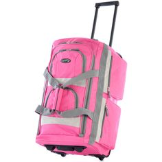 Olympia SRD 22-inch 8-pocket Carry On Rolling Upright Duffel Bag ($34) ❤ liked on Polyvore featuring bags, luggage and pink