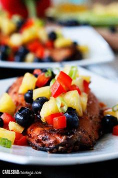 Sweet and Spicy Asian Salmon. Sweet and Spicy Asian Salmon with Pineapple Blueberry Salsa - if you like Asian food you will love the layers of flavor! Salmon Recipes, Fish Recipes, Seafood Recipes, Cooking Recipes, Asian Salmon, Spicy Salmon, Pineapple Salsa, Fruit Salsa, Easy Asian Recipes