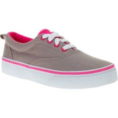 Faded Glory Girls' Contrast Stripe Canvas Shoe, Infant Girl's, Size: 1, Gray