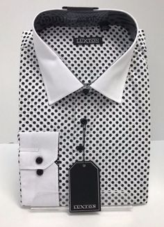 2 Packs Men/'s Regular Fit Long Sleeve Cotton Poly White and Black Dress Shirt Luxton Mens Dress Shirt,