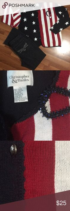 VINTAGE CHRISTOPHER & BANKS AMERICANA CARDIGAN L Vintage Christopher & Banks americana flag red white and navy blue stars and stripes button up cardigan sweater. Metal Buttons are star embellished. Great sweater great previously owned condition! No snags rips tears or stains!  Size L Please see pictures for measurements.   The Michael KORS Denim jeans and the navy blue hand beaded Swarovski bracelet Are not included but are in my closet if still available! Christopher & Banks Sweaters… Swarovski Bracelet, Metal Buttons, Banks, Flag, Friends, Denim Jeans, Stars, Stripes, Navy Blue