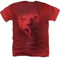This officially licensed It Chapter 2 Movie Shhh red heather adult t-shirt, has a large Pennywise the clown graphic on the front Terrifying Halloween, Halloween Clown, Big Face, V Neck Tank Top, Long Sleeve Shirts, T Shirts For Women, Tees, Prints, Mens Tops