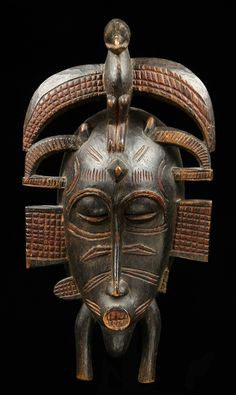 "Africa | Maske ""kpelié"" from the Senufo people of Ivory Coast"