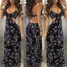 b993dc775e4 Fashion Vacation Summer 2017 Women Summer Vintage Backless Deep V Neck Boho  Long Maxi Evening Party Beach Dress Floral Sundress - serenityboutique