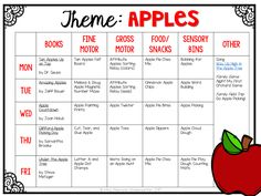 Tons of apple themed activities and ideas. Weekly plan includes books fine motor gross motor sensory bins snacks and more! Perfect for fall in tot school preschool or kindergarten. Lesson Plans For Toddlers, Preschool Lesson Plans, Preschool Curriculum, Preschool Classroom, Preschool Learning, In Kindergarten, Homeschooling, Preschool Printables, Apple Activities Kindergarten