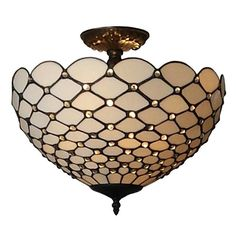 Shop for Amora Lighting Tiffany Style Jewel Semi Flush Mount Ceiling Fixture. Get free delivery On EVERYTHING* Overstock - Your Online Ceiling Lighting Store! Get in rewards with Club O! Flush Mount Lighting, Flush Mount Ceiling, Ceiling Fixtures, Ceiling Lights, Light Fixtures, Glass Lights, Hanging Lights, Black Ceiling Fan, Light Bulb Types