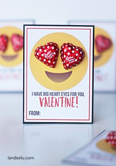 Print these Emoji Printable Valentine cards. Add chocolate hearts for the perfect classroom Valentines!